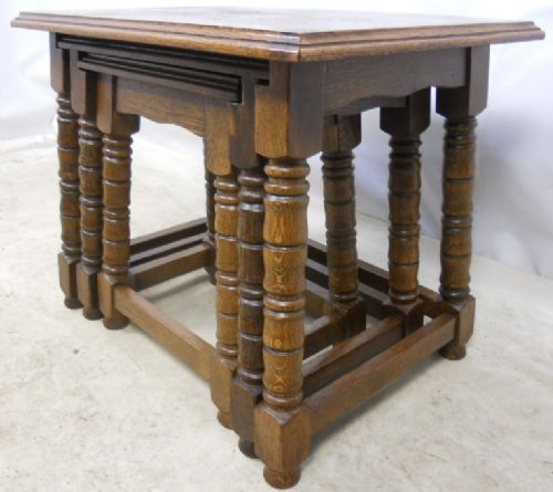 Antique Jacobean Style Heavy Oak Nest of Three Coffee Tables - SOLD